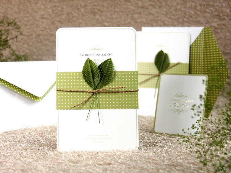 Korean-green-creative-wedding-invitations-Leaf-decoration-party-theme-invitation-card